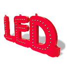 <li> Loose plastic letters with LED lights.<br><li> Color letters red color LED lights red.<br><li> Mutually coupled to all the words.<br><li> Even with flashing block available for extra attention.<br><li> Up to 20 characters on one power supply.