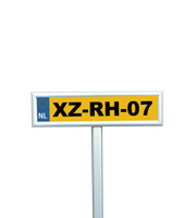 <li> ideal for parking and route signs<br><li> silver anodised<br><li> inclusive anti reflex PVC sheet<br><li> mitred corners only<br><li> comes with 1 meter long pole