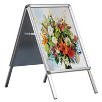 <li> Aluminium snap frames<br><li> Plastic backside<br><li> For indoor use<br><li> With mitred or rounded corners