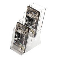 <li> helder acrylaat flyerhouder<br><li> meerder vakken<br><li> leverbaar in 4 verschillende formaten