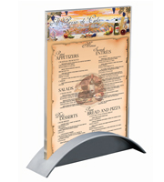 <li> A5 brochure titulaire<br><li> Top acrylique transparent<br><li> Base en plastique en argent ou noir