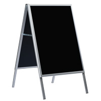 A-board aluminum with black chalk boards on both sides. Board size is 600 mm width x 800 mm height. For use with chalk pens only.