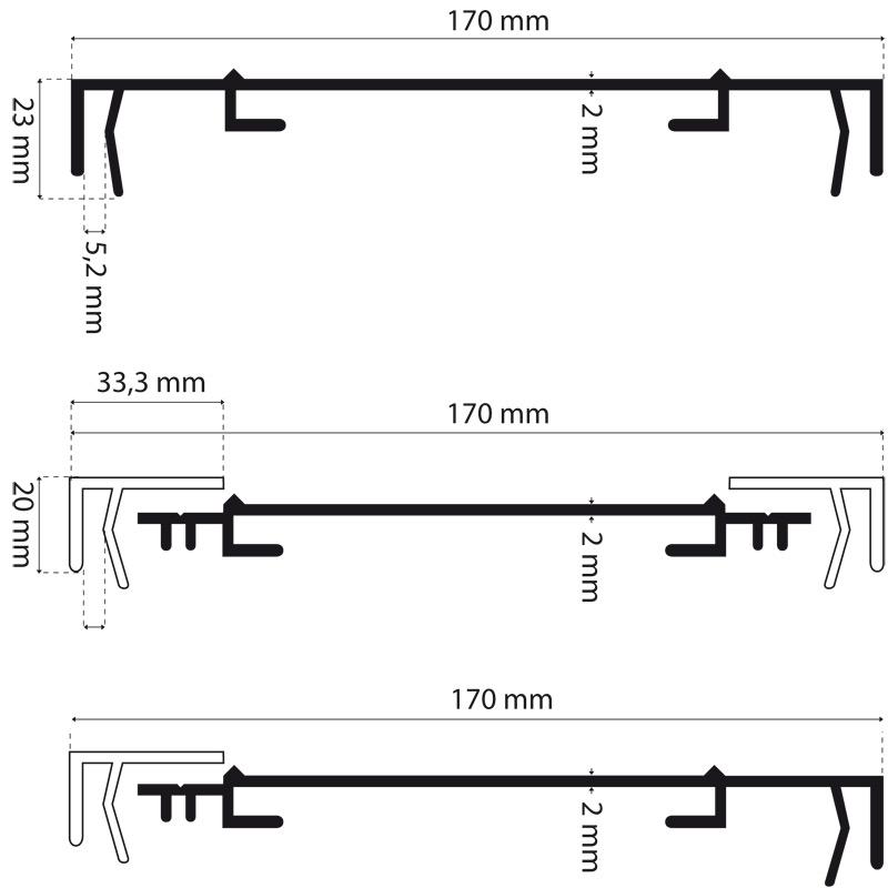 Lichtreclame profiel 170 mm standaard met 2 lijsten Brut