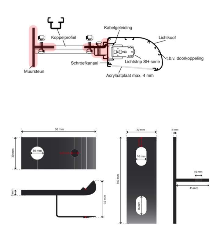 Montageset kpl., ohne Oberflächenbehandlung