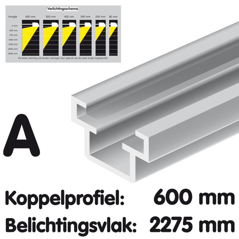 Couple Profil longueur 600 mm anodisé