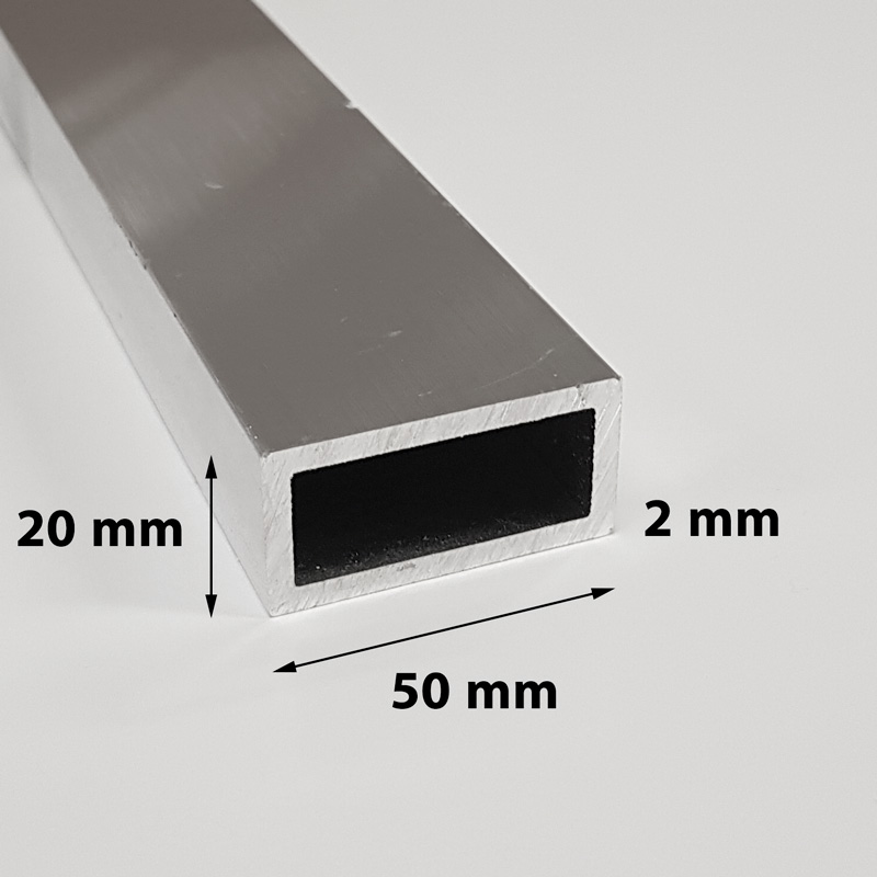 Aluminium tube square 50 x 20 x 2 mm anodized