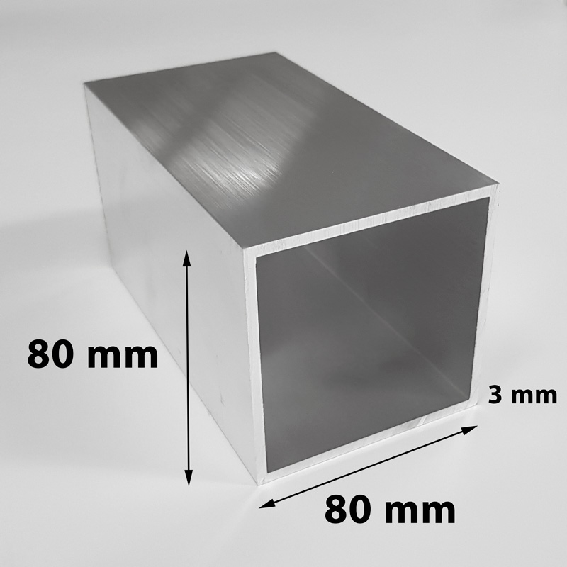 Aluminium tube square 80 x 80 x 3 mm mill finish