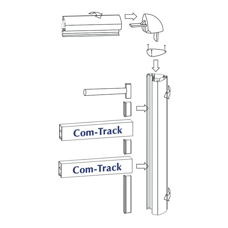 Com track profile oval ral 9016
