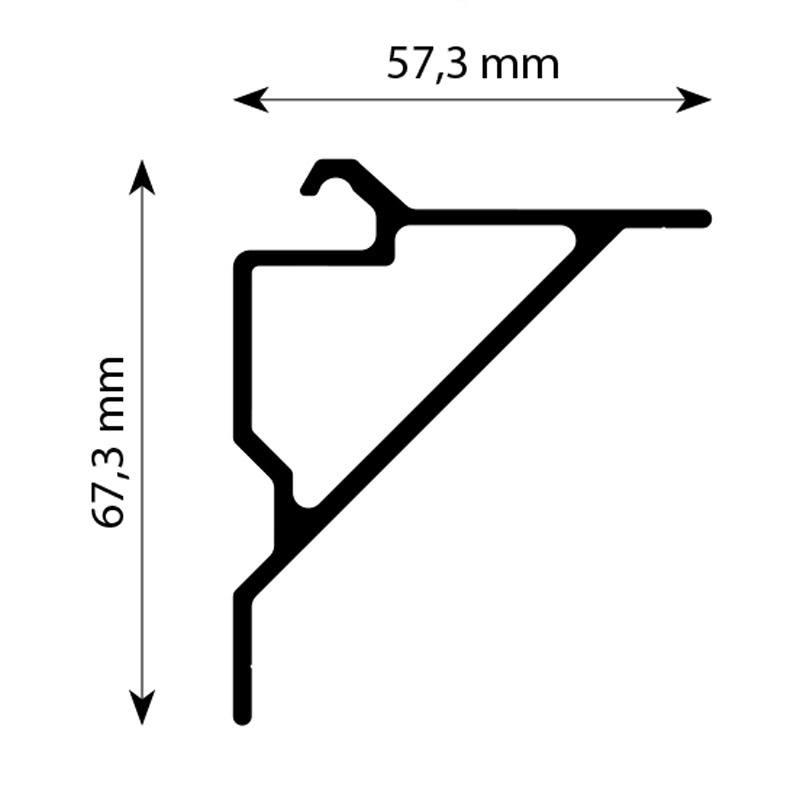 Strut angle 90 degrees Alu-smart 130 mm