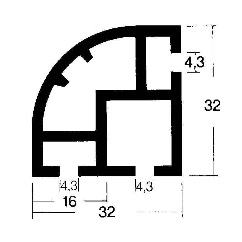Soft trim round corner connector 90°