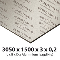 Albond panel plate 3000 x 1500 mm thickness 3 mm alu 0 2 mm white/white