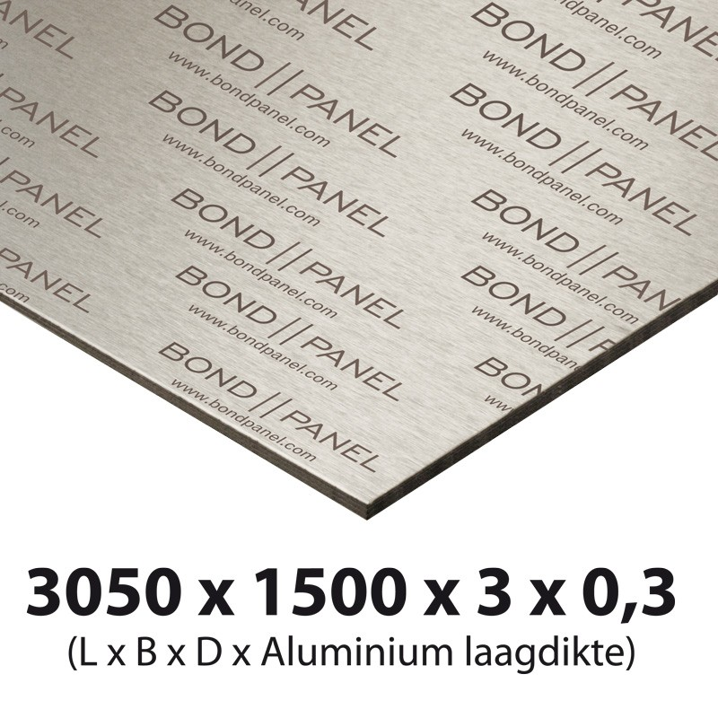 3050 x 1500 mm bond-panel thickness 3 mm 0.3 mm alu stainless steel/white