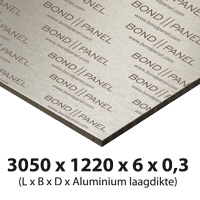 3000 x 1220 mm bond-panel thickness 6 mm 0.3 mm alu white/white