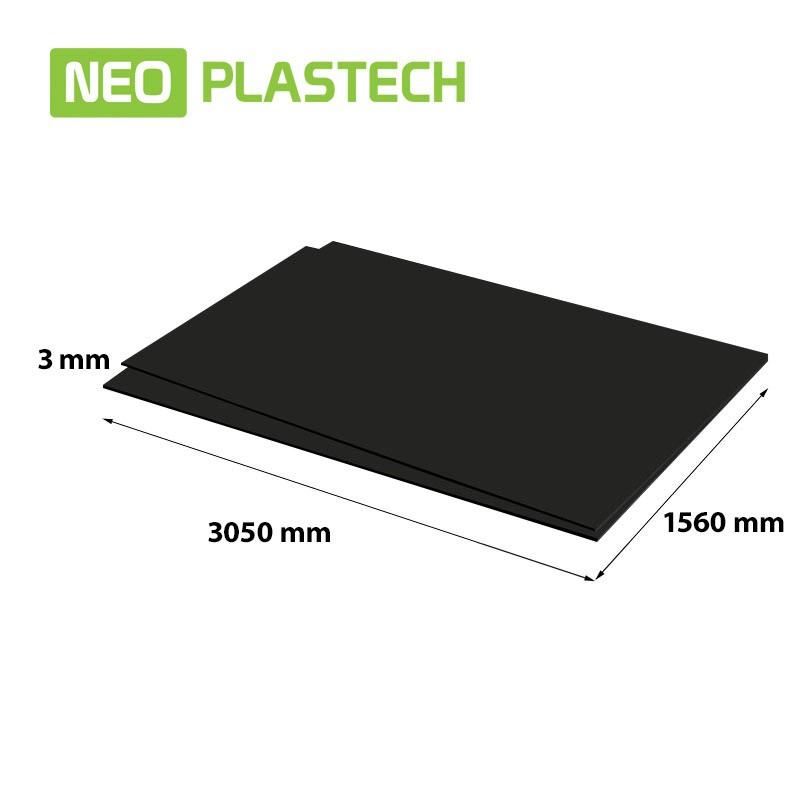 Neo Plastech zwart geschuimd PVC 3 x 1560 x 3050 mm
