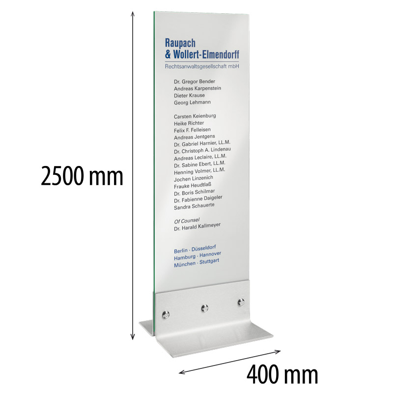Indoor glass column with stainless steel base 400 x 2500 mm