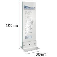 Indoor glazen zuil met RVS voet 500 x 1250 mm glas 8 mm