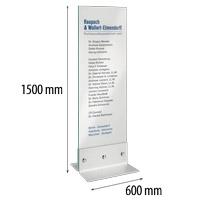 Indoor glazen zuil met RVS voet 600 x 1500 mm glas 10 mm