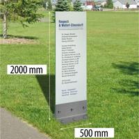Outdoor glazen zuil met RVS voet. 500 x 2000 mm glas 12 mm