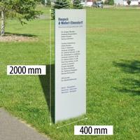 Outdoor glazen zuil met RVS voet. 400 x 2000 mm glas 19 mm