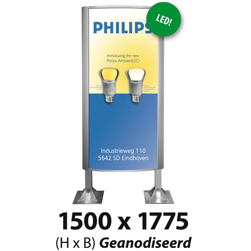 Ovaalsign 1500 x 1775 mm geanodiseerd LED