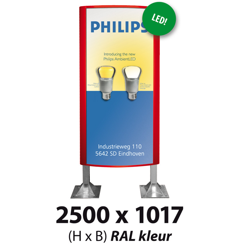 Ovaalsign 2500 x 1017 mm RAL LED