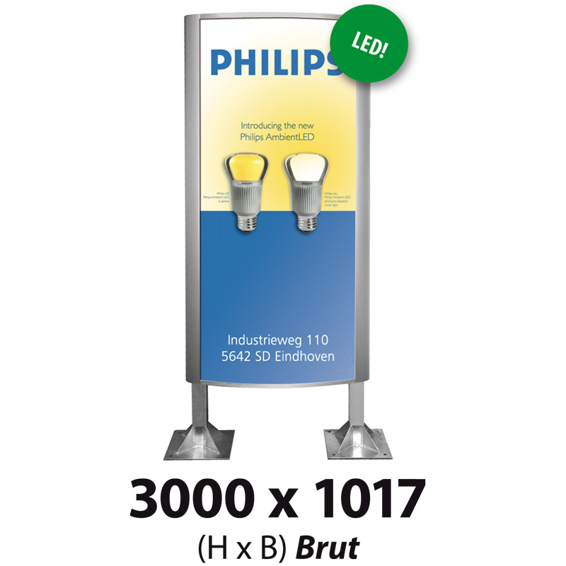 Ovaalsign 3000 x 1017 mm brut LED