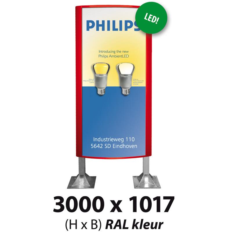 Ovaalsign 3000 x 1017 mm RAL LED