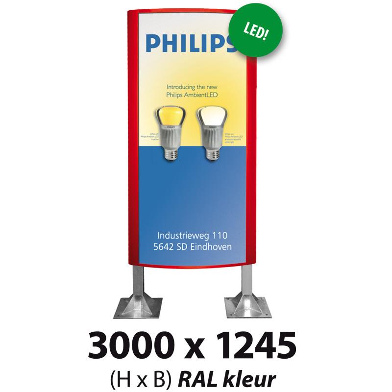 Ovaalsign 3000 x 1245 mm RAL LED