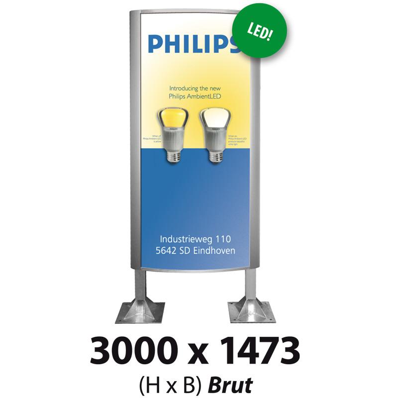 Ovaalsign 3000 x 1473 mm brut LED