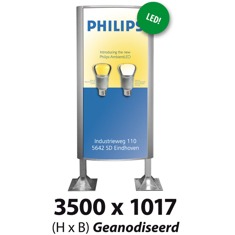 Ovaalsign 3500 x 1017 mm geanodiseerd LED