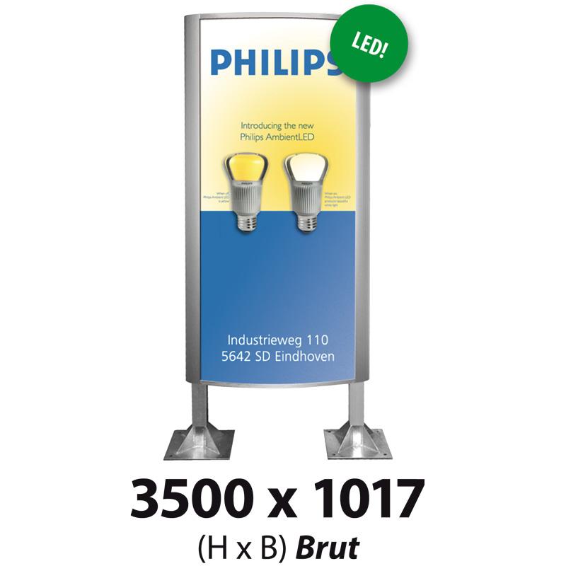 Ovaalsign 3500 x 1017 mm brut LED