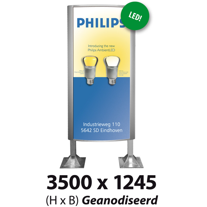 Ovaalsign 3500 x 1245 mm geanodiseerd LED