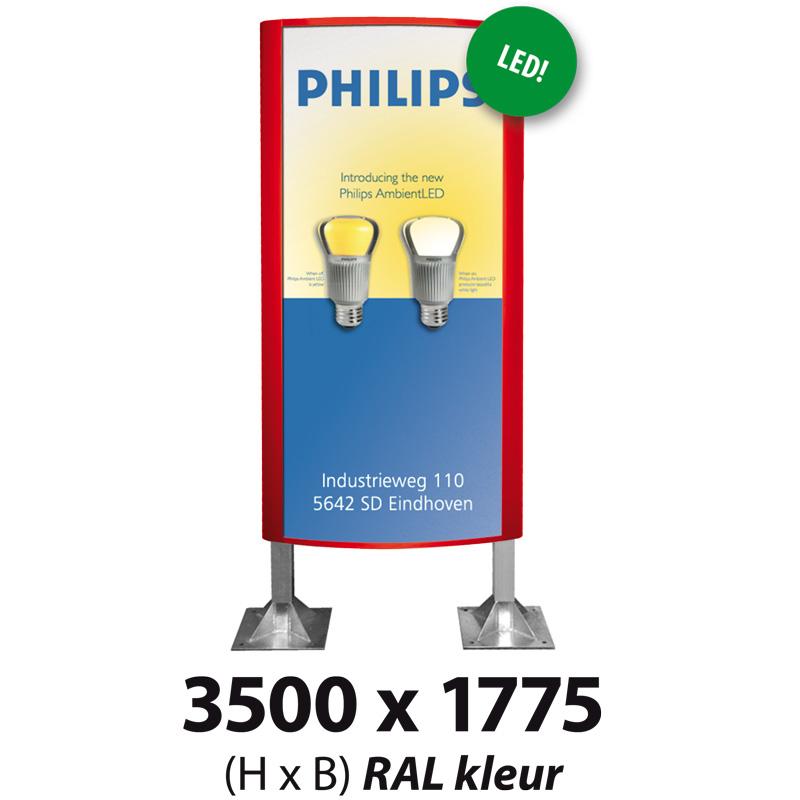 Ovaalsign 3500 x 1775 mm RAL LED