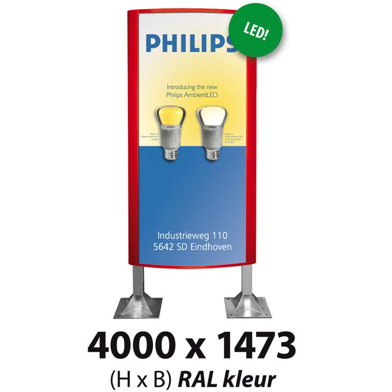 Ovaalsign 4000 x 1473 mm RAL LED
