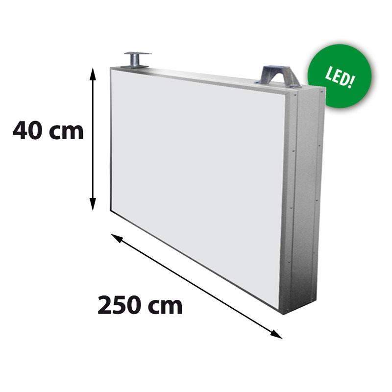 Lichtreclame dubbelzijdig 2500 x 400 mm