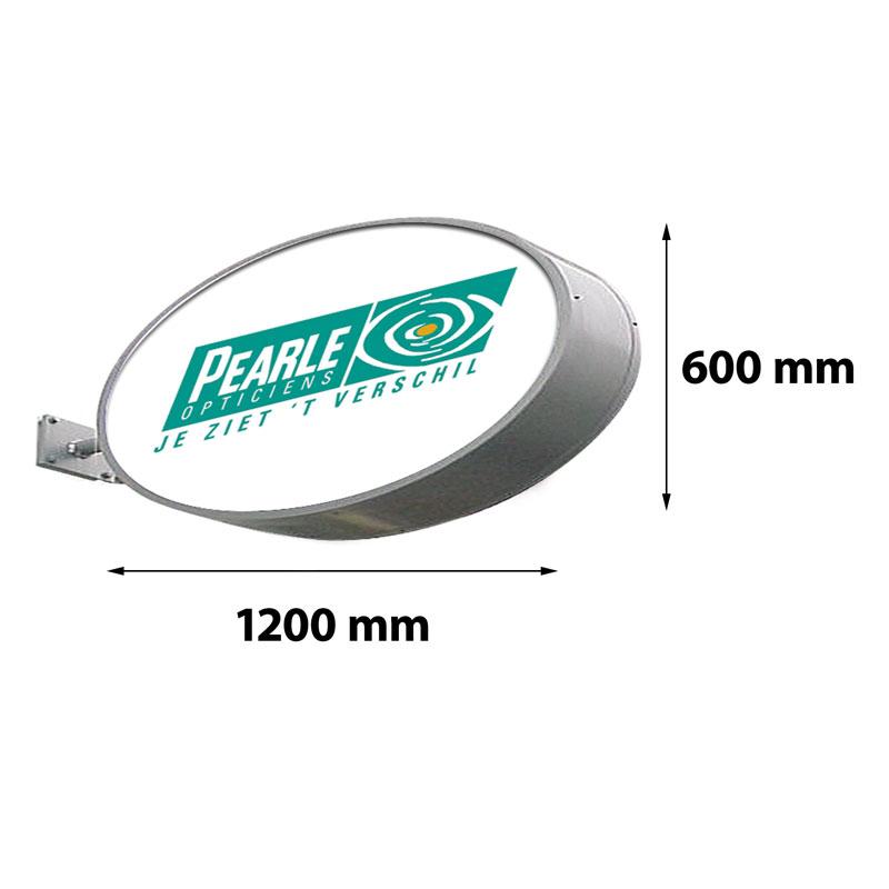 Lichtreclame ovaal dubbelzijdig 1200 x 600 mm