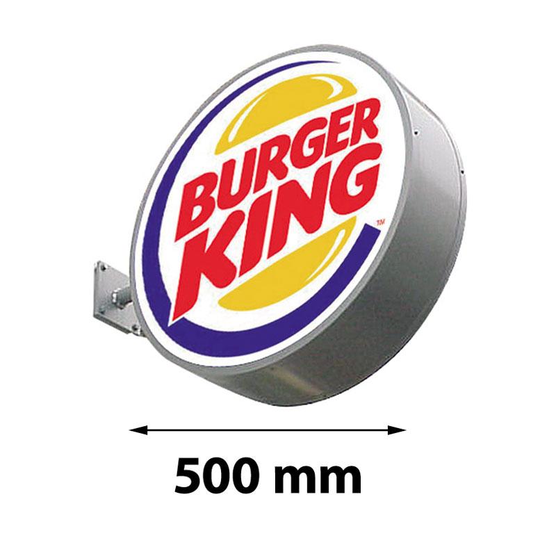 Lichtreclame rond dubbelzijdig 500 x 500 mm