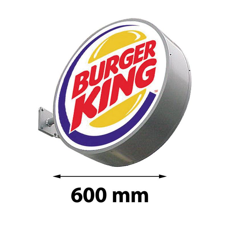 Lichtreclame rond dubbelzijdig 600 x 600 mm