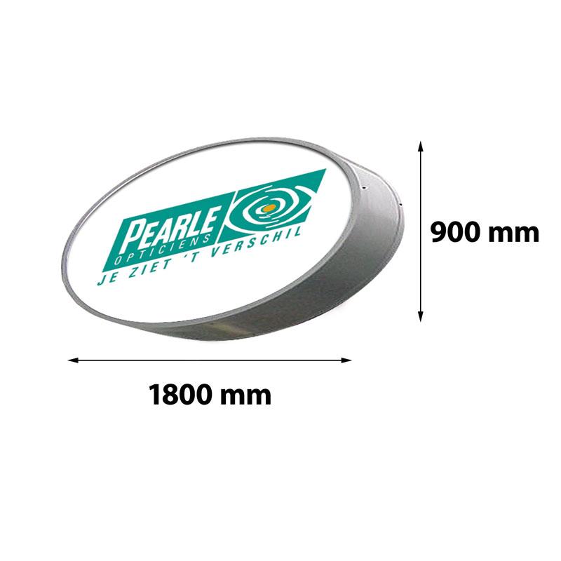 Lichtreclame ovaal enkelzijdig 1800 x 900 mm