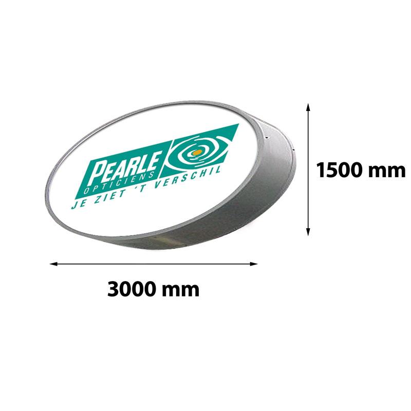 Lichtreclame ovaal enkelzijdig 3000 x 1500 mm