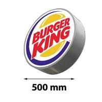 Lichtreclame rond enkelzijdig 500 x 500 mm