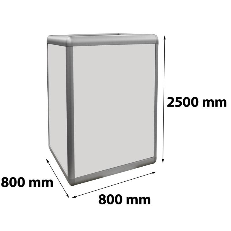 Zuil verlicht 800 x 800 x 2500 mm