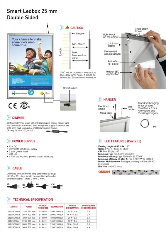 Smart LEDbox double-sided A4