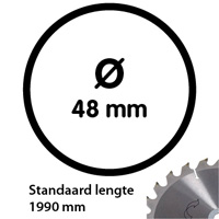 Aluminium buis 48 mm 1990 mm wanddikte 2 mm