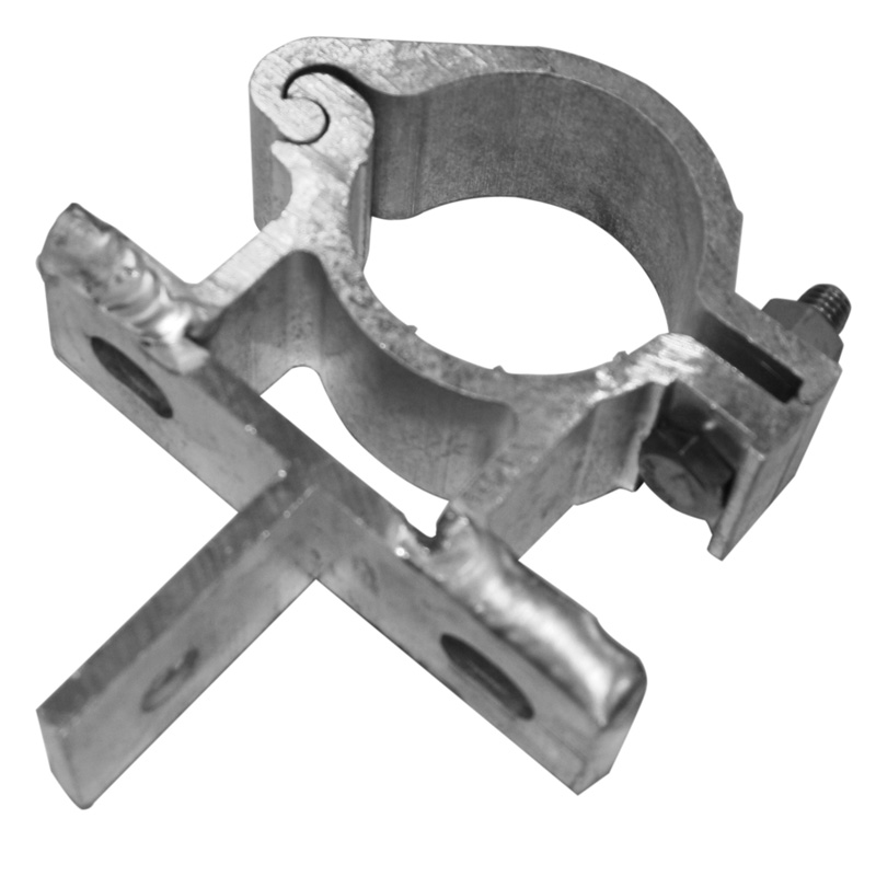 Bracket for attaching an overhead lighting to a tubular frame
