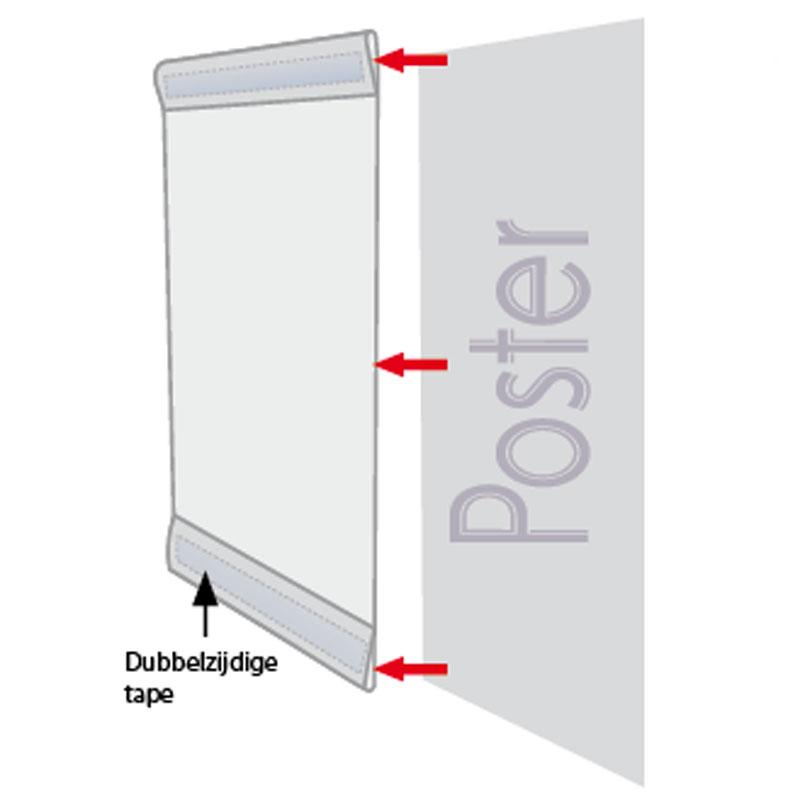 Pet Pocket C type, met tape helder A4 staand