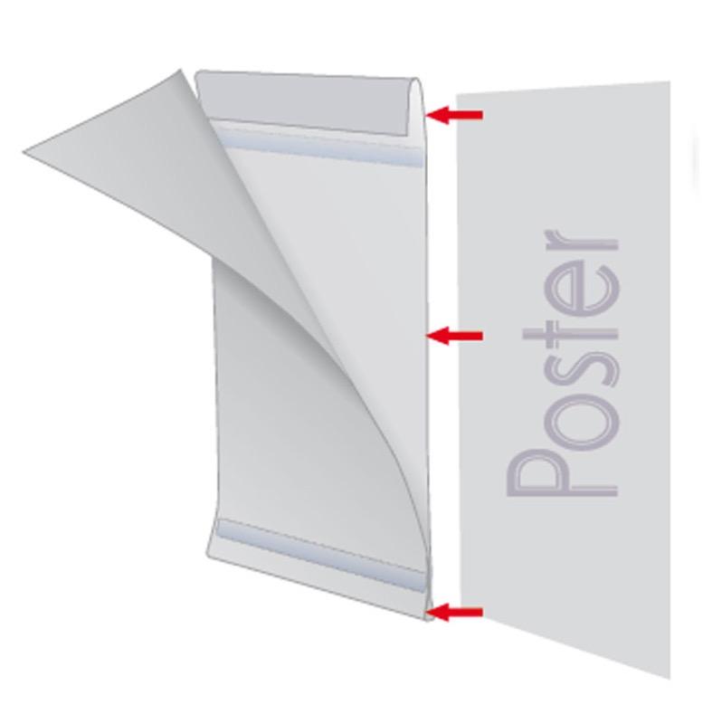 Pet Pocket D type met tape A3 staand