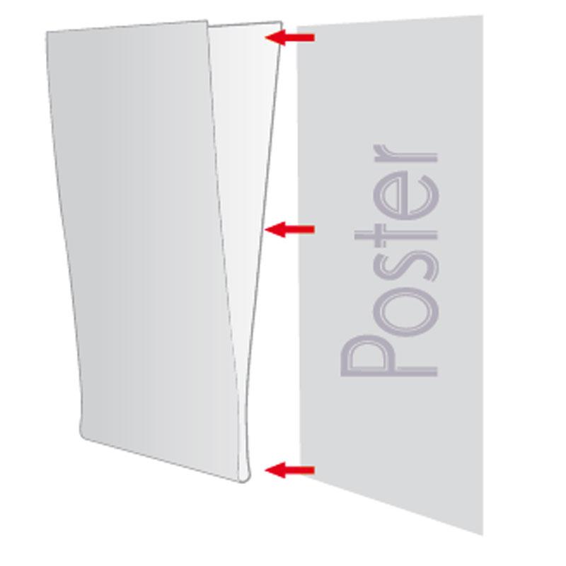 Pet Pocket U type, zonder tape helder A6 staand