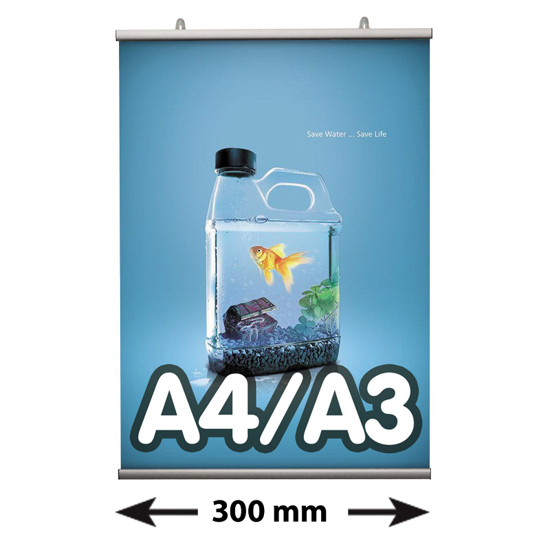 Poster Fast klemmen, A4/A3, lengte 300 mm