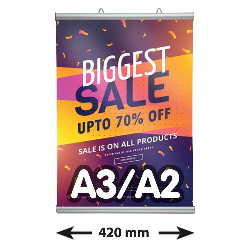 Klik posterklemmen, A3/A2, lengte 420 mm